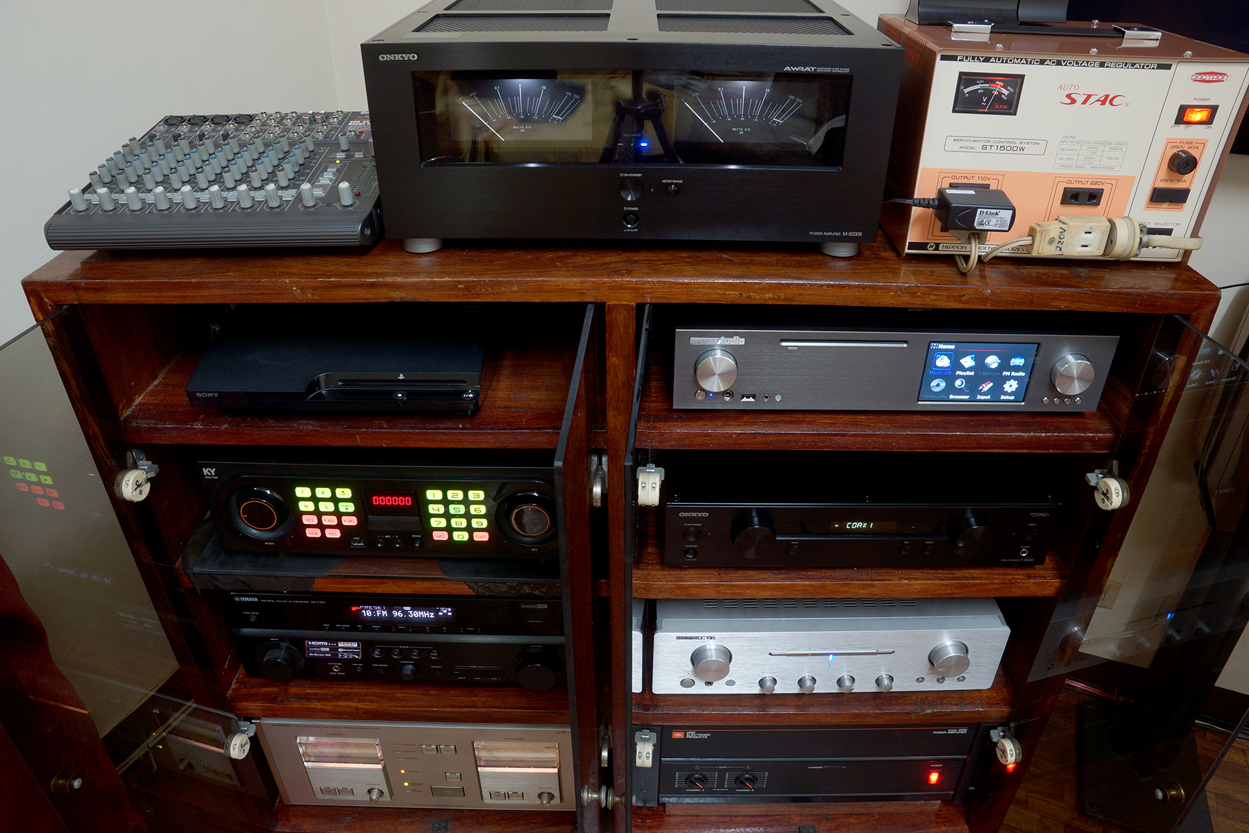 How to setup a home sound system -  Components Of Mini 6 1 Surround Sound Home Theater Audio System Karaoke Setup Completed On March 16 2015 Top Left To Right Mackie 1202 Vlz Pro Mixer